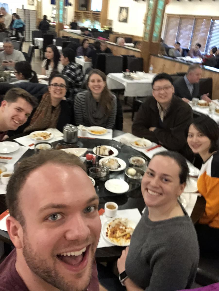 Cooperstone and Kopec labs celebrate Chinese New Year with dim sum, February 2018, Columbus, Ohio.  L-to-R starting top L: Michael, Jess, Rachel, Bo, Rosalie, Haley and Matt big up front.
