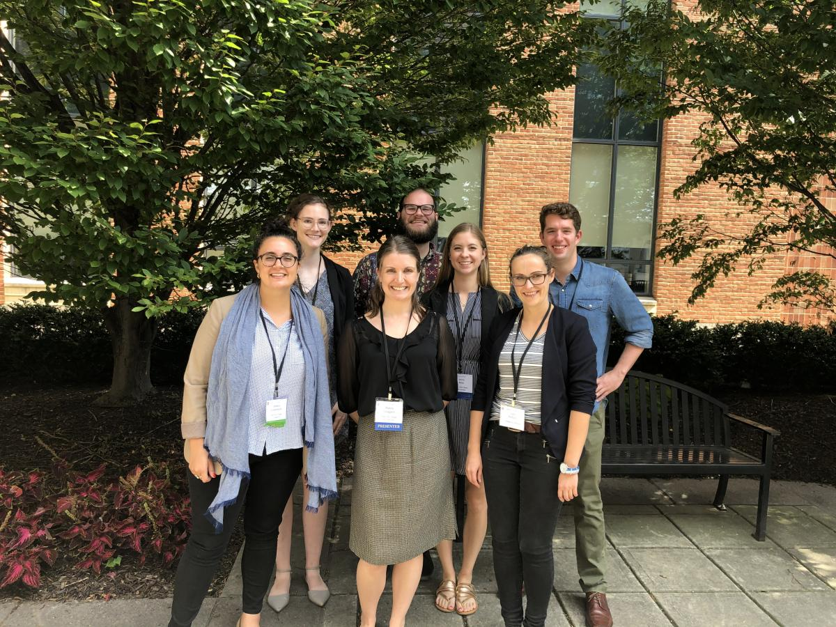 The Cooperstone lab at the Ohio Mass Spec and Metabolomics Symposium, October 2019.  L to R (starting back row): Emma Bilbrey, Jordan Hartman Jenna Miller, Michael Dzakovich, Jess Cooperstone, Mallory Goggans, Lara Etzbach.