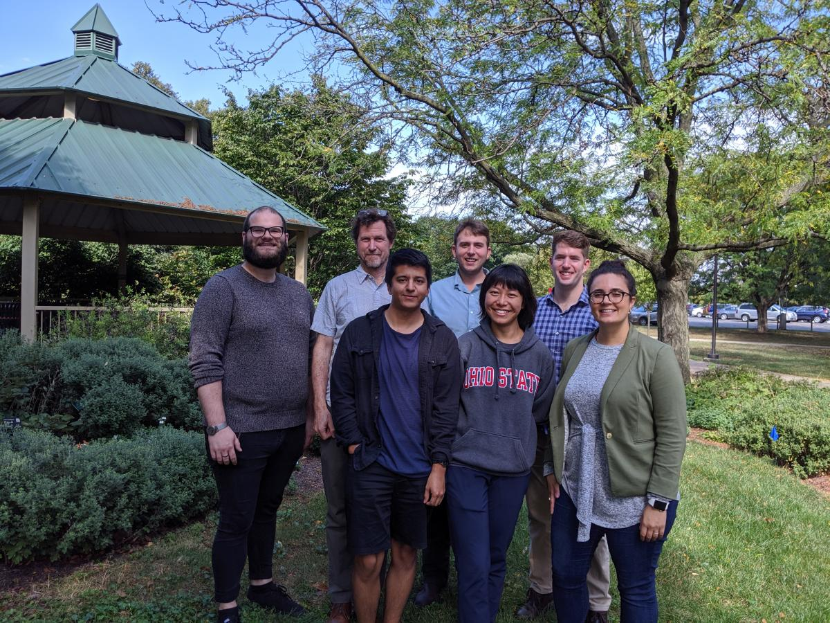 A good chunk of #TeamTomato after the OSU HCS Grad Research Symposium, October 2019.  L to R (starting in back): Jordan Hartman, David Francis, Sean Fenstemaker, Michael Dzakovich, Eduardo Bernal, Su Subode, Jess Cooperstone