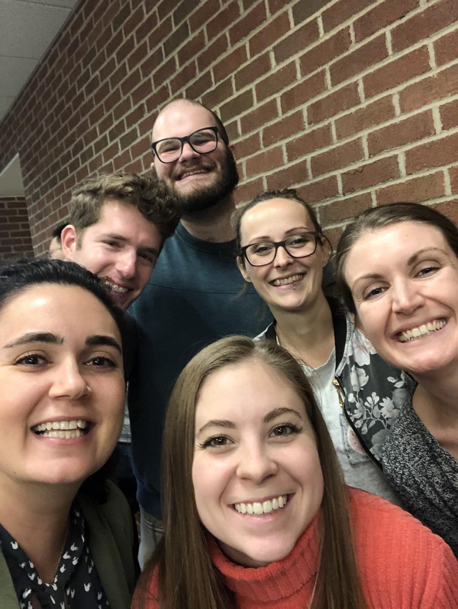 Thanksgiving with the Food Science Department, November 2019.  Starting bottom left, Jess, Michael, Jordan Lara, Mallory, Jenna